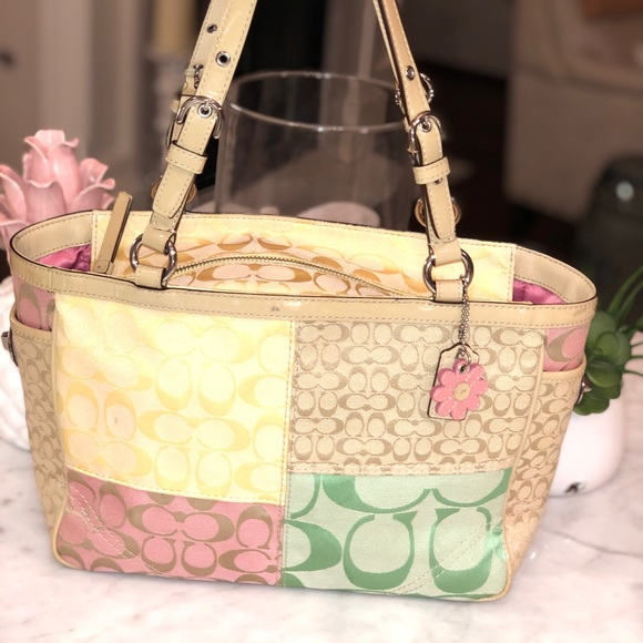 Coach Daisy Pastel Patchwork Tote Great Condition.